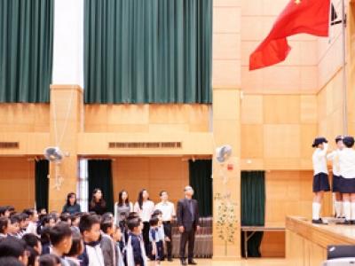 媒體採訪本校升旗禮