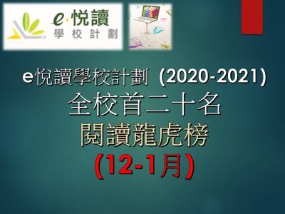 「e悅讀學校計劃」閱讀龍虎榜成績(12-1月)
